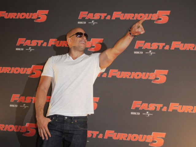 <p>Vin Diesel attends the &quot;Fast &amp; Furious 5&quot; premiere at UGC Cinema on April 29, 2011 in Rome.</p>