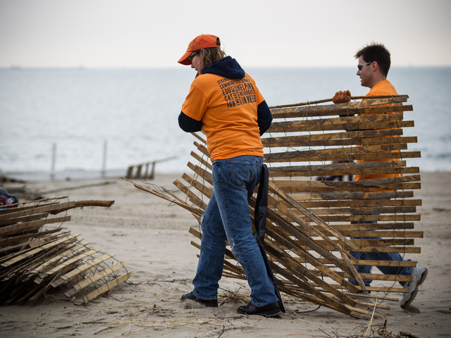 <p>Volunteers from the New York Cares organization carry away a hurricane fence on Brighton Beach.</p>