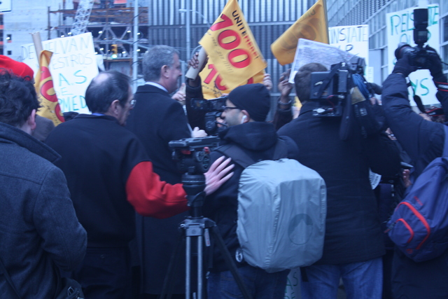 <p>Unite 100 rally for paid sick days stripped during Hurcane Sandy on Nov. 24, 2012.</p>