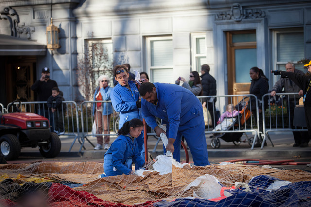 <p>Workers prepared balloons for the Macy&#39;s Thanksgiving Day Parade Nov. 21, 2012.</p>
