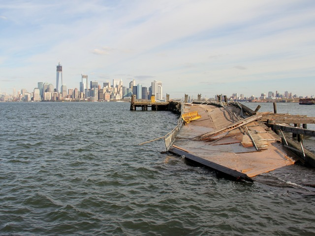 <p>A pier serving Liberty Island was ripped from its support columns during Sandy.</p>