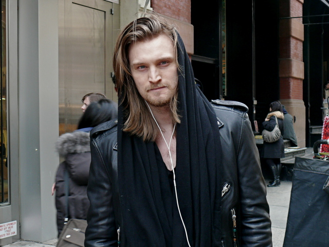<p>Wool hoods paired with rock style biker jackets in SoHo.</p>