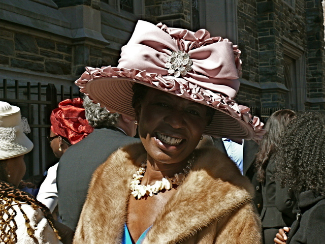 <p>Valerie B. magnificent violet bonnet confection of satin with a rhinestone brooch Abyssinian Baptist Church in Harlem.</p>