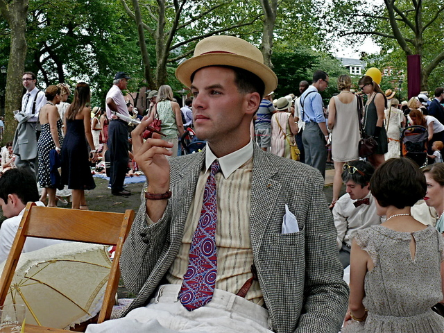 <p>James Koury at the Governors Island Jazz Age Lawn Party in June.</p>