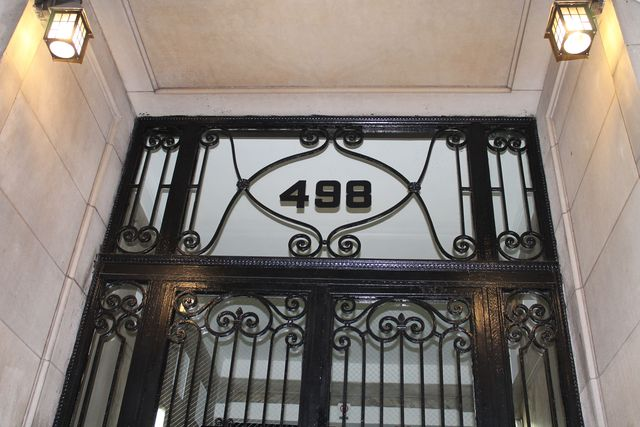 <p>The doorway of 498 West End Avenue. The building, which dates back to 1911, was sold for $52.5 million.&nbsp;</p>