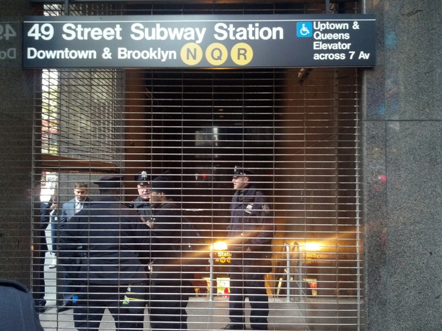 <p>A man was struck and killed by a Q train at 49th Street and Seventh Avenue Dec. 3, 2012.</p>