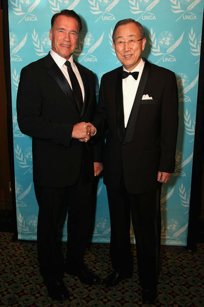 <p>Arnold Schwarzenegger and Ban Ki-Moon, at Schwarzeneggger&#39;s&nbsp; being named 2012 Global Advocate of the Year by the United Nations&#39; Correspondents Association at Cipriani 42nd Street. Wednesday, December 19, 2012.</p>