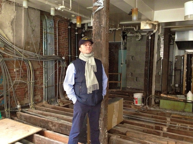 <p>Claudio Marini, owner of shuttered Front Street restaurant Barbarini, stands in his flood-wrecked, gutted eatery. With repairs likely to take more than six months, Marini is looking to open a new restaurant in the Financial District, with help from a newly launched funding site.</p>