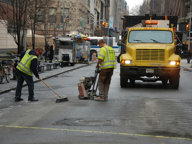 <p>Work began on Tuesday, Dec. 18, 2012, to turn East 25th Street in front of Baruch College into a pedestrian plaza.</p>