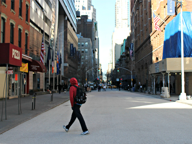 <p>East 25th Street between Third and Lexington avenues was free of vehicles on Thursday, Dec. 20, 2012, just two days after work began to convert the street into a public plaza.</p>