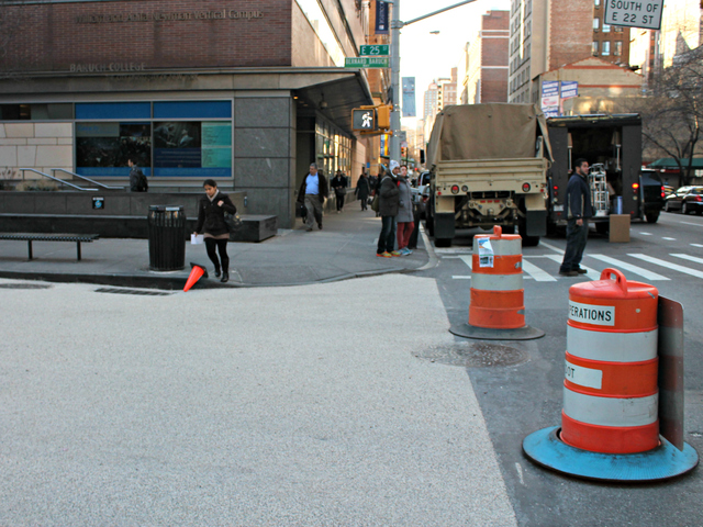 <p>The block has been repaved to distinguish it from the surrounding streets as part of its conversion into a public plaza.</p>
