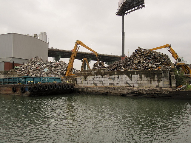 <p>Benson Scrap Metal on the Gowanus Canal. The business was fined after state investigators found it was allowing scrap metal to fall into the polluted canal.</p>