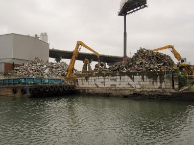 A Gowanus scrap metal company was fined for letting metal fall into the polluted canal.