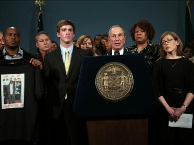 Mayor Michael Bloomberg joined 34 Americans affected by gun violence, including relatives of victims of shootings in Tucson, Aurora, Oak Creek, Virginia Tech and from Daily Violence, to release videos demanding a plan to end gun violence on Dec. 17, 2012.