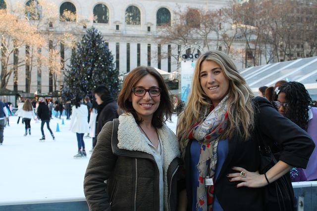 <p>The Blueprint Proposals duo, Kym Pitlor (R) and Erin Mavian (L), at Bryant Park.&nbsp;</p>