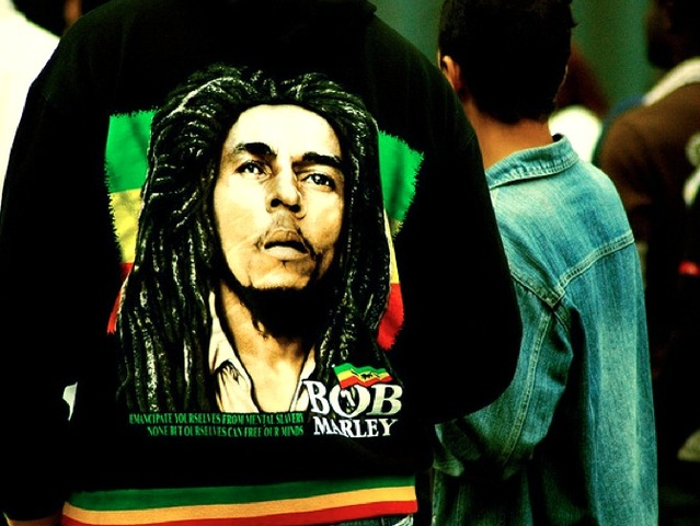 <div> 	Images of reggae icon Bob Marley pop up on clothing and merchandise worldwide.&nbsp;</div>