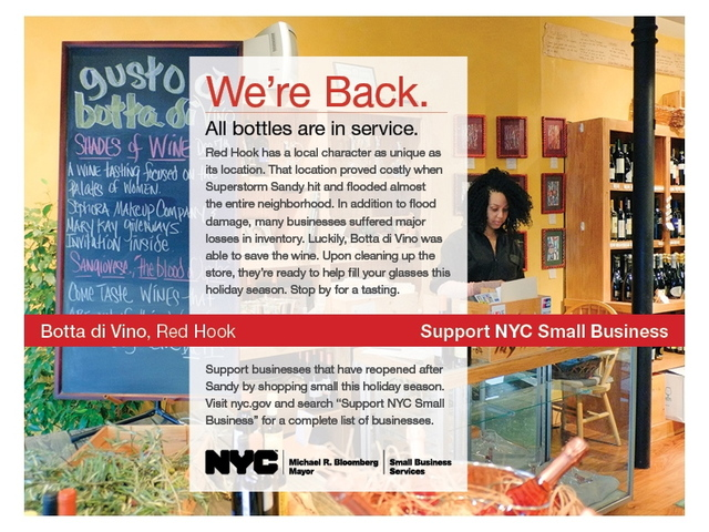 <p>Red Hook wine store Botta Di Vino is featured in the new Support NYC Small Business initiative, a program launched to promote shops that have managed to reopen in the aftermath of Sandy.</p>