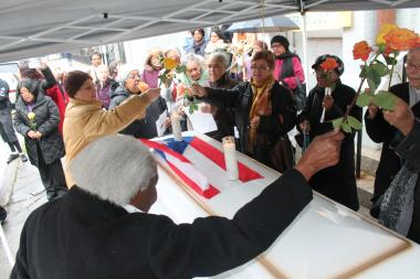 East Harlem advocate Carmen Villegas, 58, lost her two-year battle with cancer on Wednesday, Dec. 5. More than 100 people gathered outside of Our Lady Queen of Angels, a Catholic church,on Monday Dec. 10 to say goodbye to a woman whom they said fought for East Harlem every day of her life.