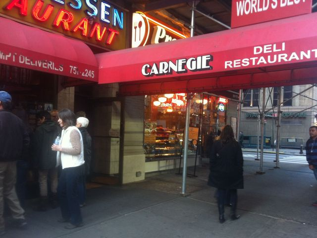 <p>The outside of Carnegie Deli.</p>