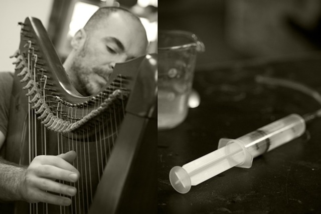 <p>Andy Cavatorta, pictured here, designed harps for Bjork&#39;s &quot;Biophilia&quot; with his partner, Marina Mihaeko.</p>