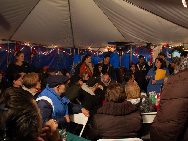 <p>Residents packed into the Cedar Grove Community Hub on Thursday, Dec. 20, 2012, to fight the closing on the volunteer tents by the city on January 1.</p>