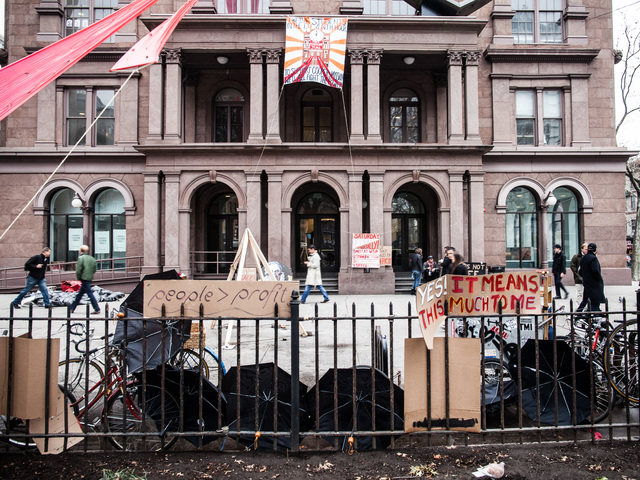 <p>The Cooper Union School on the day students held a protest rally in Washington Square Park on Dec. 8, 2012.</p>