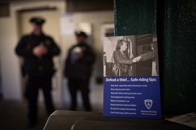 <p>Officers handed leaflets on subway safety to commuters at 40th Street station Friday morning, Dec. 28, 2012. The night before, a man was shoved to his death in front of an oncoming 7 train as it pulled into the station.</p>