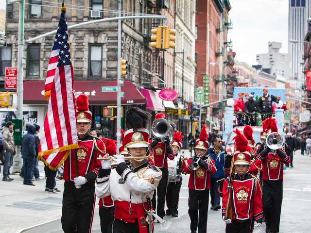 <p>The Crimson Kings marching band perform at this years annual East Meets West Parade on Dec. 22nd, 2012.</p>