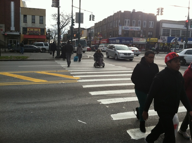 <p>The intersection at Utica Ave. and Eastern Parkway, where a 9-year-old was headed from the north to south corner when he was hit by a westbound livery cab on Dec. 22, 2012.</p>
