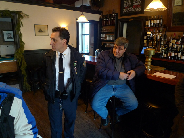 <p>Deputy Inspector Michael Ameri, the commanding officer of the 78th Precinct, speaks at a meeting with Gowanus merchants and residents in the wake of a gunpoint robbery on Thanksgiving.</p>