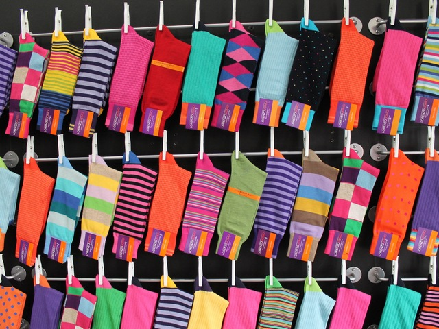 <p>The store offers socks that come in about 50 different patterns.</p>