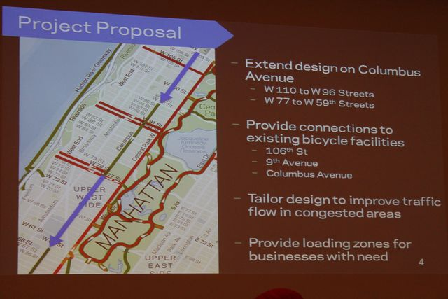<p>The Department of Transportation proposed an expanded bike lane along Columbus Avenue, which was approved by the Community Board on Tuesday night.</p>