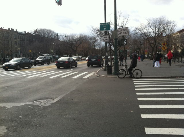 <p>The intersection at Eastern Parkway, where a 9-year-old was&nbsp; was hit by a westbound green Mercury livery cab on Dec. 22, 2012.</p>