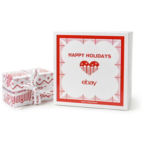 <p>The wrapping paper used by eBay is designed by Jonathan Adler.&nbsp;</p>