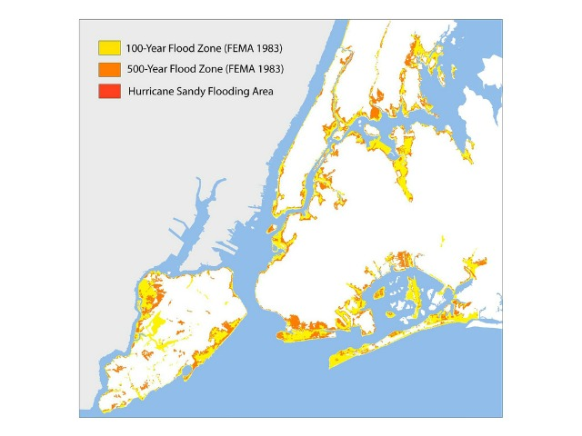 <p>FEMA&#39;s flood map for New York City, last updated in 1983.</p>