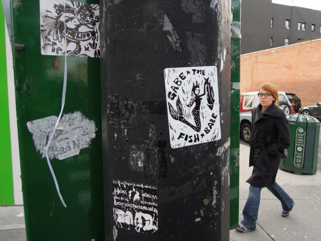 <p>A &quot;Gabe the Fish Babe&quot; sticker on a pole in Williamsburg.</p>