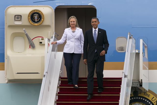 <p>Hillary Clinton visited Myanmar Nov. 19, 2012 with President Barack Obama. Clinton was hospitalized at the end of December with a blood clot in her head.</p>