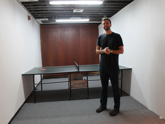 <p>Artist Theodoros Stamatogiannis, 35, set up a ping-pong table in a tight space as an ironic commentary on many of the exchanges he sees in the art world, he said.</p>