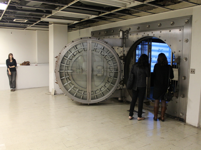 <p>In the bank&#39;s lower level, a video installation from artist Orit Ben-Shitrit plays on loop, projected inside a former vault.</p>