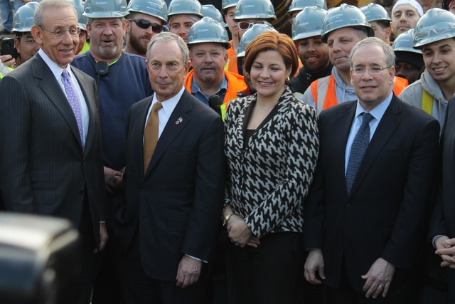 <p>Related Chairman Stephen Ross, Mayor Michael Bloomberg, City Council Speaker Christine Quinn and Manhattan Borough President Scott Stringer at the Hudson Yards groundbreaking.</p>