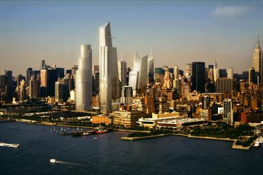 A rendering of Hudson Yards from the Hudson River.