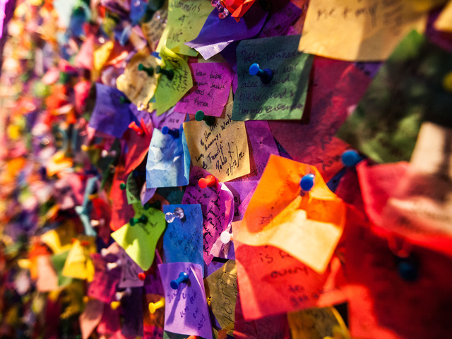 <p>Hundreds of people pinned their New Year&#39;s Eve confetti wishes on the New Year&#39;s Eve Wishing Wall at the Times Square Museum on Dec. 29th, 2012.</p>
