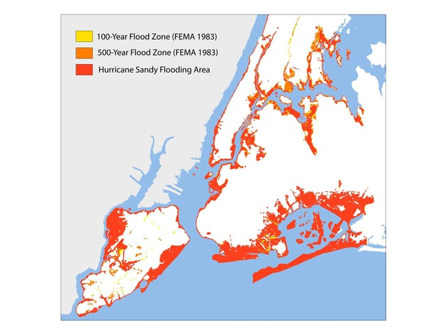 <p>The red represents the area that was actually flooded during Superstorm Sandy.</p>