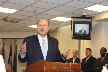 MTA Chair Joseph Lhota announced his resignation during an MTA board meeting on Dec. 19, 2012.