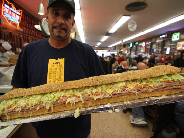 <p>Katz&#39;s is known for classic deli sandwiches.</p>