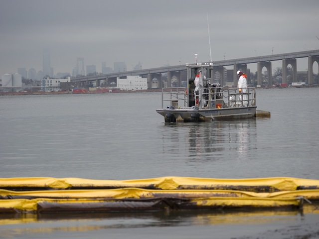 <p>The barge contained 112,000 gallons of oil in its cargo tank, and the U.S. Coast Guard was unsure how much of it spilt into the waters of the Kill Van Kull, Dec. 17, 2012.</p>