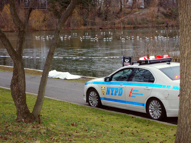 <p>The area where a woman&#39;s body was found Dec. 29, 2012, in Kissena Park, roped off after the discovery.</p>