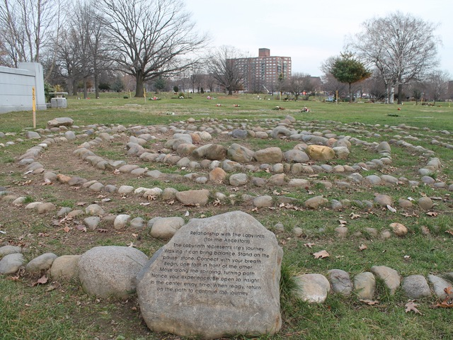 <p>The cemetery has a mini labyrinth made of path stones.</p>