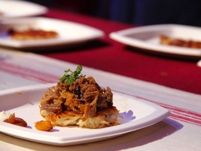 <p>Berlyn&#39;s Ganz Gut Latke with Goose Confit, Roasted Squash, Apples.</p>