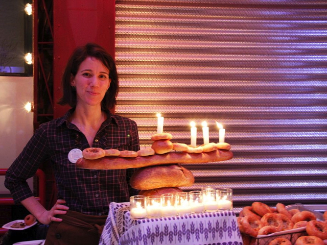 <p>A Menorah made of bread from Hot Bread Kitchen.</p>
